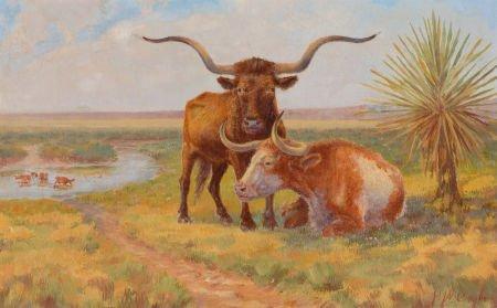 76019: HARVEY WALLACE CAYLOR (American, 1867-1932) Oxen
