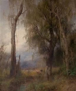 73088: HERMANN HERZOG (American, 1832-1932) Lazy Days,