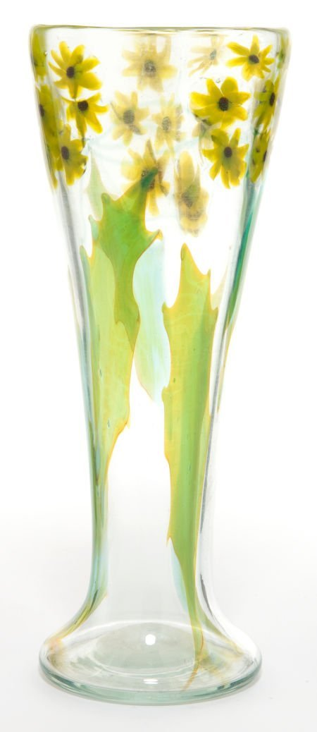 62021: TIFFANY STUDIOS PAPERWEIGHT GLASS VASE  Clear gl