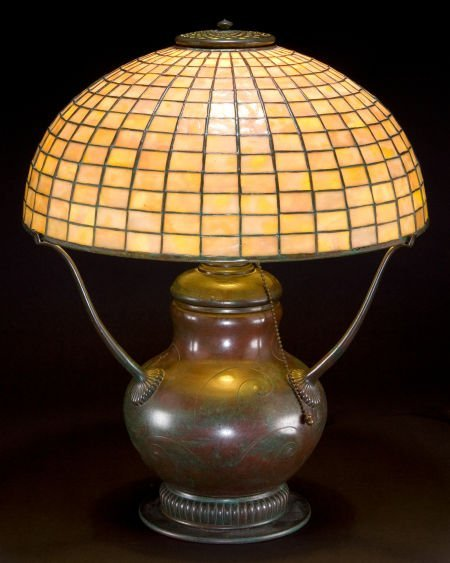 62011: TIFFANY STUDIOS GEOMETRIC GLASS SHADE WITH HUBBE