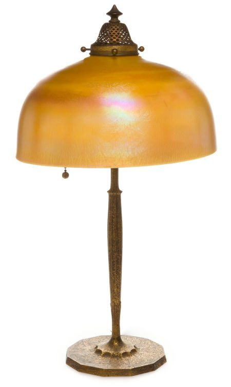 62012: TIFFANY STUDIOS BRONZE TABLE LAMP WITH FAVRILE G
