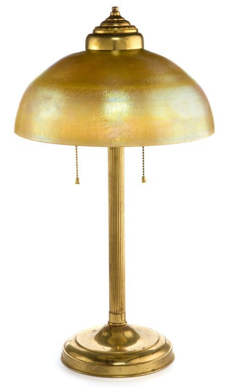 62013: TIFFANY STUDIOS FAVRILE GLASS SHADE WITH BRASS L