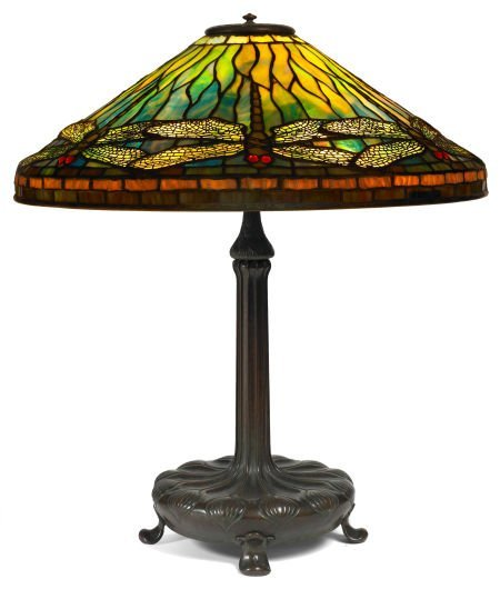 62003: TIFFANY STUDIOS RED-EYE DRAGONFLY TABLE LAMP Bro