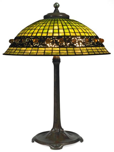 62009: TIFFANY STUDIOS GEOMETRIC TABLE LAMP WITH FAVRIL