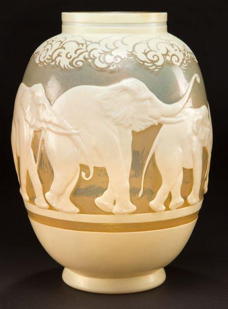 62048: GALLE OVERLAY GLASS ELEPHANTS VASE  Pale yellow