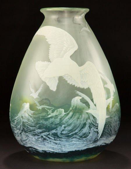 62049: GALLE OVERLAY GLASS SEAGULLS VASE  Aquamarine gl