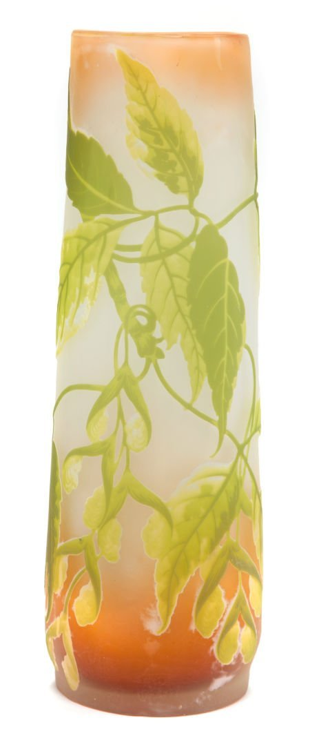 62053: GALLE OVERLAY GLASS VASE  Yellow, brown and gree