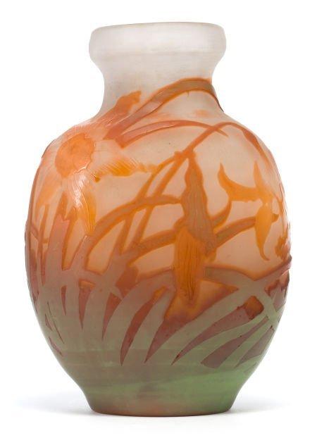 62056: GALLE OVERLAY GLASS  VASE  White glass vase with