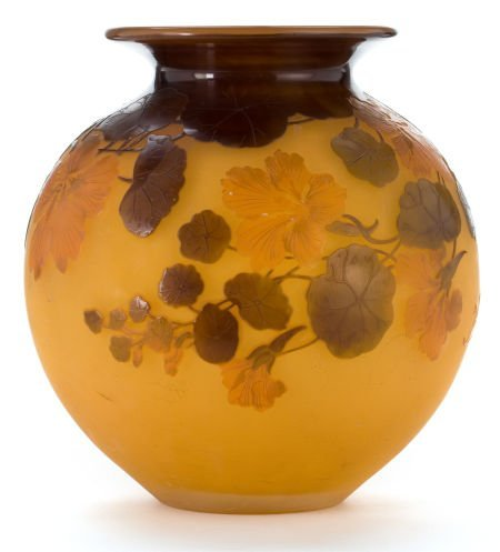 62059: GALLE OVERLAY GLASS VASE  Yellow cameo glass wit
