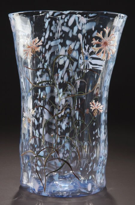 62061: GALLE GLASS AND ENAMEL VASE  Clear and mottled g