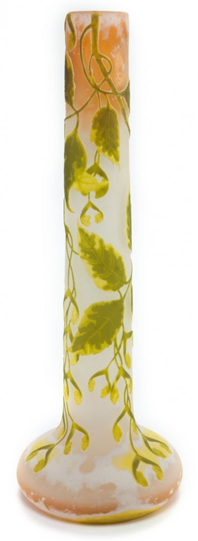 62064: GALLE OVERLAY GLASS TALL VASE  Yellow, peach and