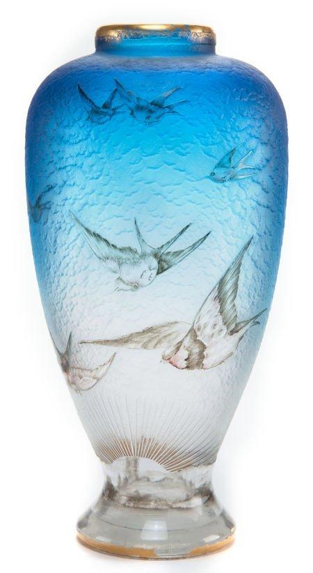 62065: DAUM ETCHED AND ENAMELED GLASS HIRONDELLES VASE