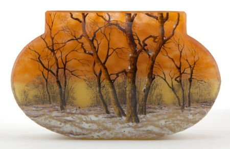 62067: DAUM ETCHED AND ENAMELED GLASS WINTER LANDSCAPE