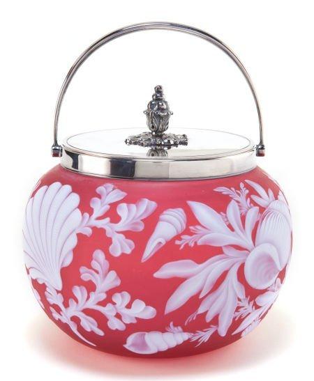 62068: THOMAS WEBB GLASS BISCUIT BARREL  Rose glass wit