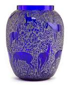 62220: R. LALIQUE BLUE GLASS BICHES VASE WITH WHITE PAT