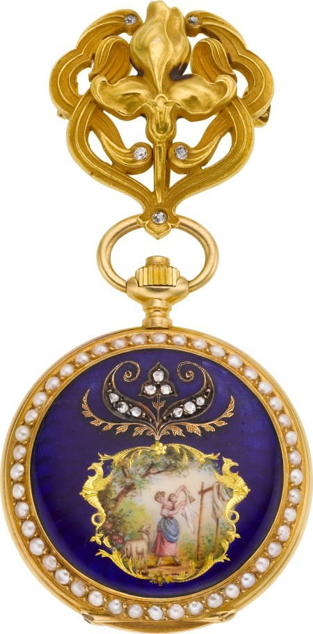 60003: Longines Gold & Enamel Pendant Watch With Pin, c