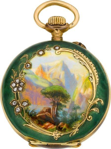 60005: Borel Miniature Gold & Enamel Hunters Case, circ