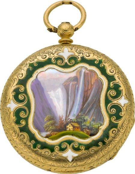 60011: Barlow Geneve Gold & Enamel Key Wind, circa 1870