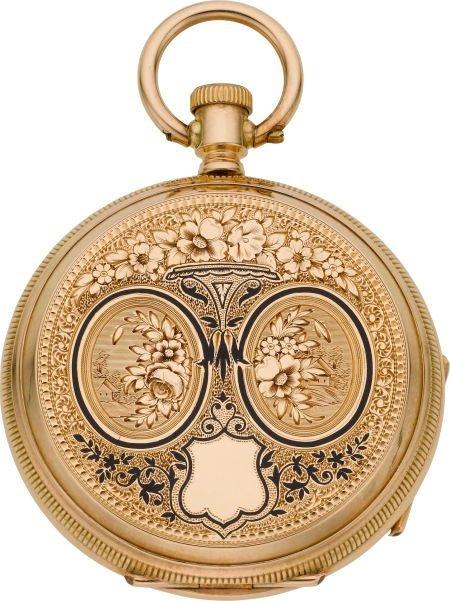 60012: Ami Richard 18k Gold & Enamel Key Wind, Original