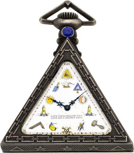 60015: Tempor Watch Co. Fine Masonic Pocket Watch With