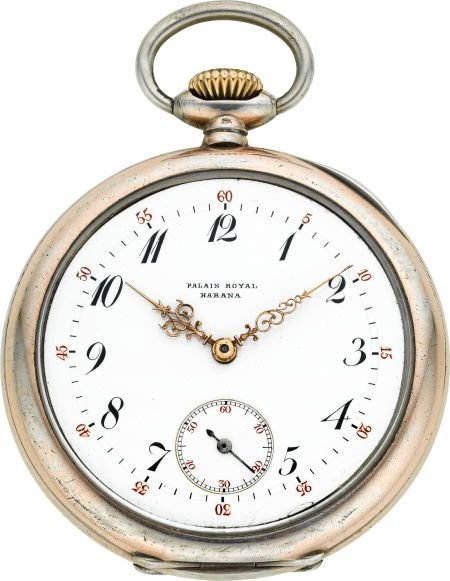 60017: Patek Philippe Silver Pocket Watch With Unusual