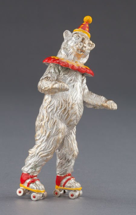 68003: A TIFFANY & CO. SILVER AND ENAMEL CIRCUS BEAR ON
