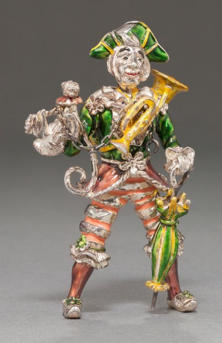 68006: A TIFFANY & CO. SILVER AND ENAMEL CIRCUS CLOWN W