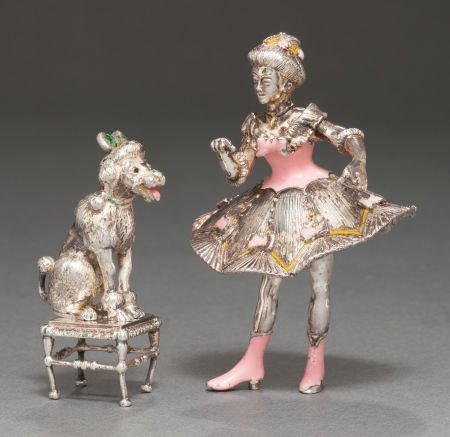 68009: A TIFFANY & CO. SILVER AND ENAMEL CIRCUS POODLE