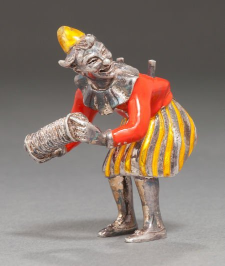68012: A TIFFANY & CO. SILVER AND ENAMEL CIRCUS CLOWN W