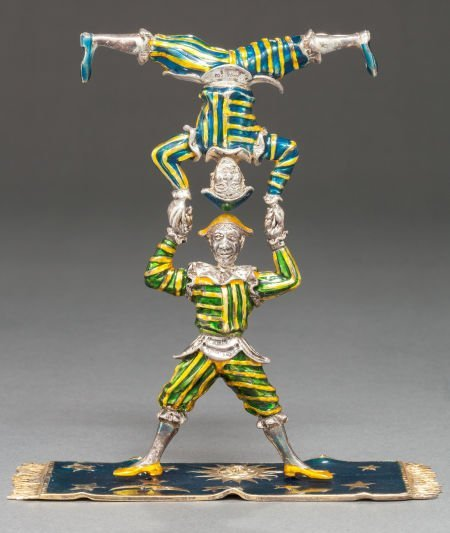 68013: A TIFFANY & CO. SILVER AND ENAMEL CIRCUS ACROBAT