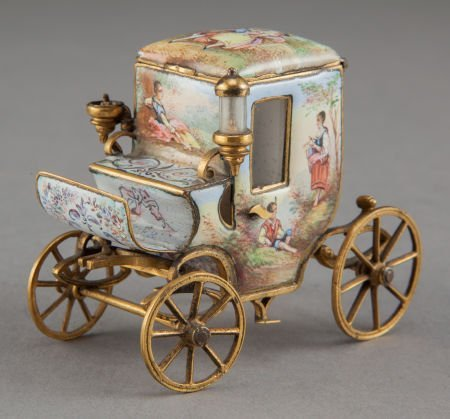 68175: A VIENNESE GILT METAL AND ENAMEL MINIATURE CARRI