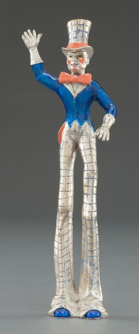68017: A TIFFANY & CO. SILVER AND ENAMEL  CIRCUS TALL M