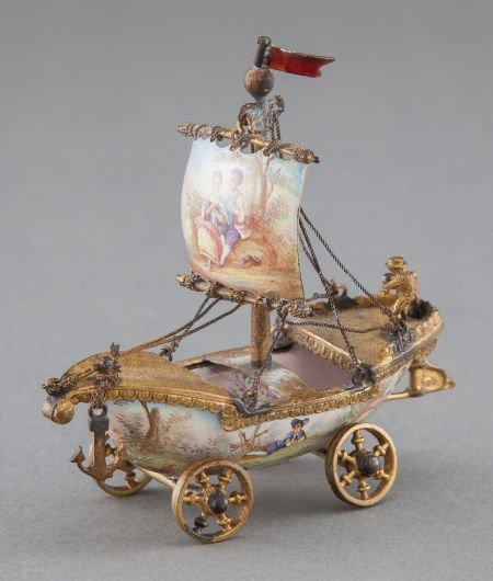 68021: A VIENNESE GILT METAL AND ENAMEL MINIATURE NEF