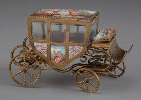 68022: A VIENNESE GILT METAL AND ENAMEL MINIATURE CARRI