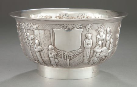 68101: A WOSHING CHINESE EXPORT SILVER FOOTED BOWL  Wos