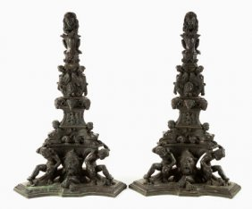 66001: A PAIR OF MONUMENTAL ITALIAN BAROQUE-STYLE PATIN