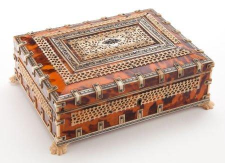 66007: AN ANGLO-INDIAN TORTOISESHELL AND BONE BOX  Make