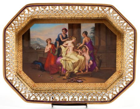 66012: A ROYAL VIENNA-STYLE PORCELAIN TRAY AFTER KAUFFM