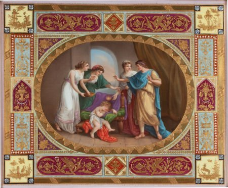 66013: A FRAMED AUSTRIAN PORCELAIN PLAQUE PAINTED BY WE
