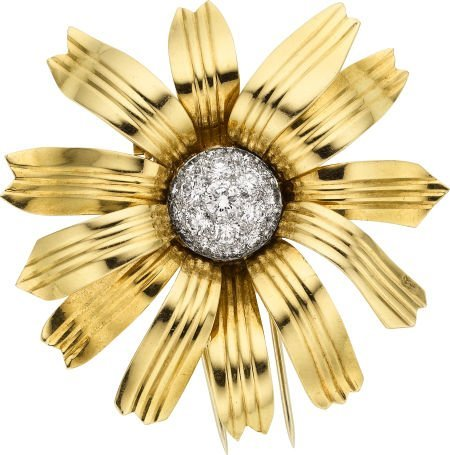 58002: Diamond, Gold Clip-Brooch, Cartier, French