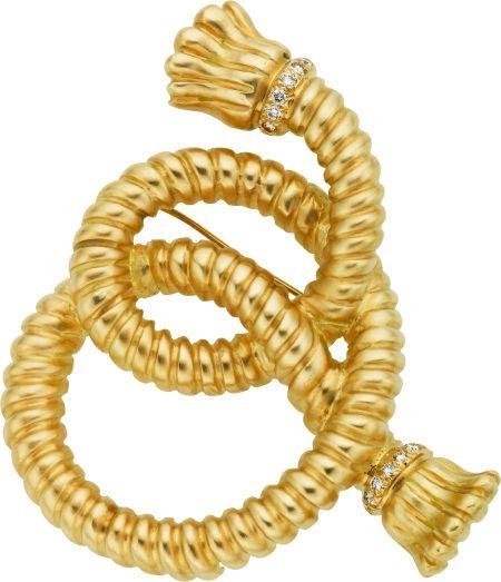 58003: Diamond, Gold Brooch, Angela Cummings, circa 199