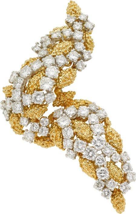 58010: Diamond, Gold Brooch