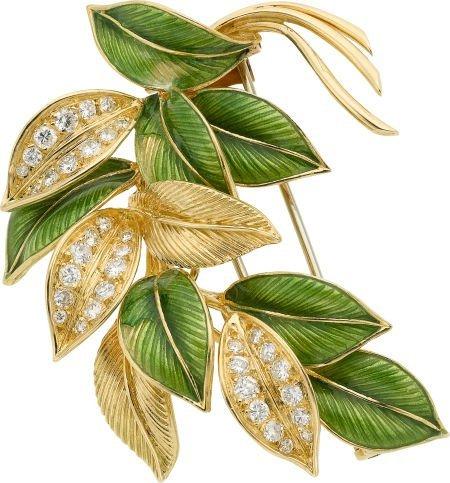 58014: Diamond, Enamel, Gold Brooch, Van Cleef & Arpels