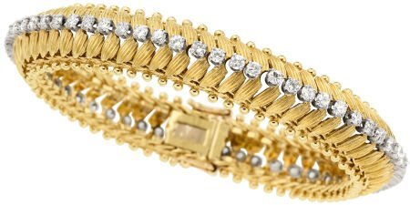 58015: Diamond, Gold Bracelet, circa 1960