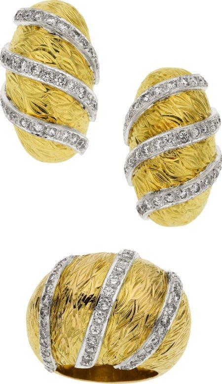 58016: Diamond, Gold Jewelry Suite