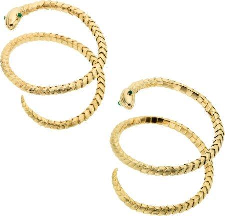 58017: Emerald, Gold Bracelets, David Webb