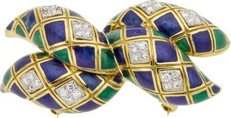 58019: Diamond, Enamel, Platinum, Gold Brooch, David We