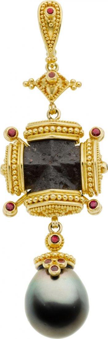 58024: Black Diamond, South Sea Cultured Pearl, Ruby, G