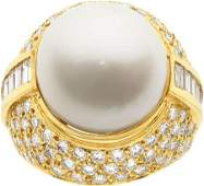 58389: South Sea Cultured Pearl, Diamond, Gold Ring