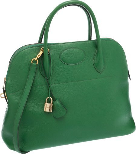 56004: Hermes 37cm Vert Clair Courchevel Leather Bolide